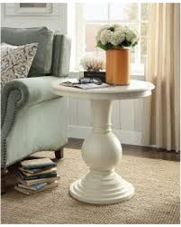 Get The Deal  f Rosemont Antique White Pedestal Side Table