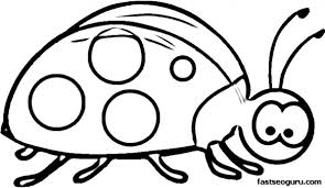Printable Insects Happy Little Ladybug Coloring Page