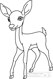 Animals Clipart deer black white outline 914 Classroom Clipart
