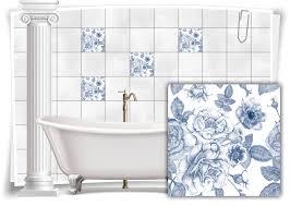 fliesen aufkleber fliesen bild kachel antik alt blau weiß bad wc deko küche