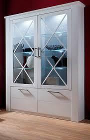 vitrinenschrank vitrine weiß pinie wohnzimmer esszimmer schrank landhaus ebay