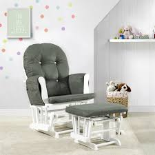 Details About Glider And Ottoman White Finish Dark Gray Cushions Nursery  Rocking Chair Set