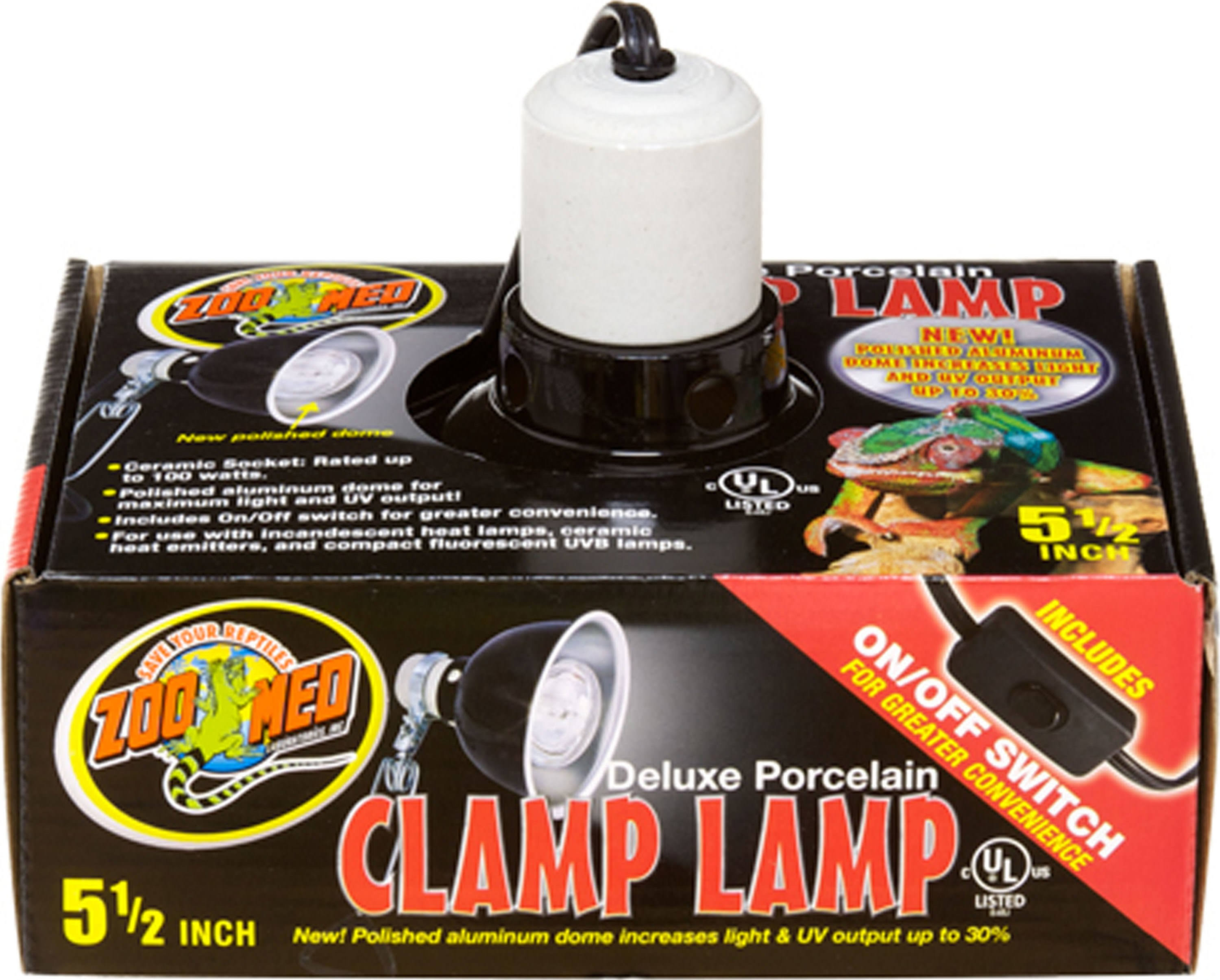 Zoo Med Deluxe Porcelain Clamp Lamp with 8.5-Inch Dome - Black