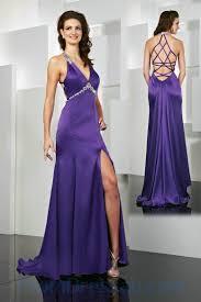 buy tailor made empire low v neck purple slit slim beading