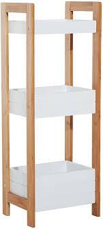 homcom badregal korbregal aus bambus standregal badezimmer regal 3 staufächer weiß