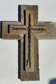 Unique WESTERN Style Sale Rustic Cedar Wood Wall Cross Decor Barbed Wire Repurposed Reclaimed Barn Country Western Gift GREAT GIFT