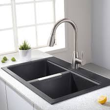 33x22 Stainless Steel Sink by Kraus Kgd 433b 33 1 2 Inch Dual Mount 50 50 Double Bowl Black Onyx