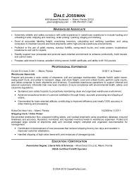 Sample Resume For A Warehouse Associate