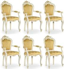 casa padrino barock esszimmer stuhl set mit armlehnen gold