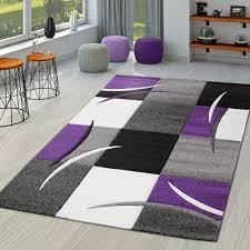 teppich wohnzimmer modern palermo mit konturenschnitt in lila grau creme schwarz größe 120x170 cm