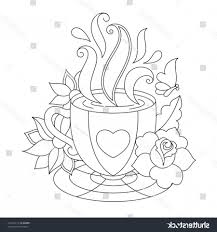 Coffee Cup Coloring Pages Vector Tea Stock In
