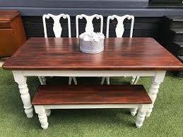 Farmhouse Dining Table Bench 3 Crushed Velvet Chairs
