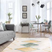 teppich wohnzimmer shaggy geometrische muster boho style pastellfarben flauschig teppich größen 140 x 200 cm