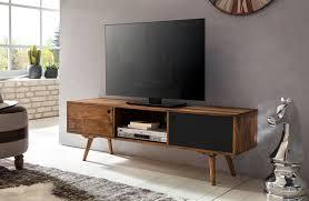 wohnling tv lowboard repa 140 cm massiv holz sheesham landhaus 2 türen fach hifi regal braun schwarz 4 füße fernseher kommode vintage