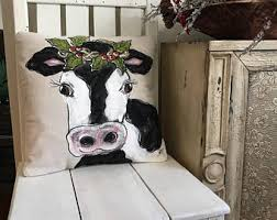 Farmhouse Cow Decor Modern Pillow Holstein With Garland Rustic Christmas