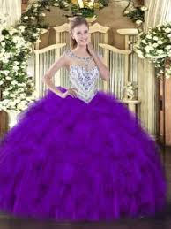 36380 20783 Beautiful Purple Scoop Zipper Beading And Ruffles Ball Gown Prom Dress Sleeveless