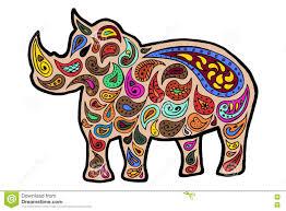 Rhinoceros Zentangle And Zendoodle Vector Rhino Zen Tangle Doodle Animal Coloring Book Tatoo Wildlife Zenart Africa