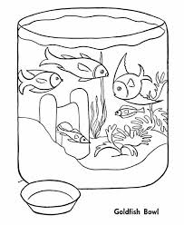 Fish Bowl Goldfish In Coloring Page