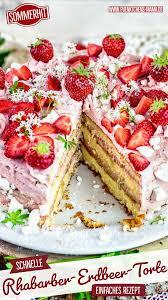 rhabarber erdbeer torte mit fertigen böden einfaches