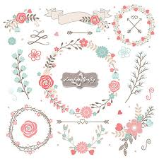 Wedding Floral Wreath Clip Art Hand Illustrated Digital Flowers Flower And Laurel PNG