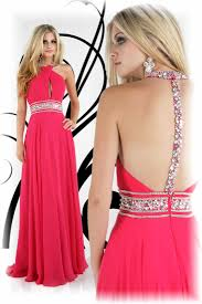buy tailor made fast shipping beaded halter chiffon pink prom