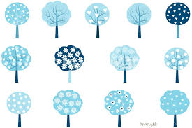 Winter trees clipart Winter tree clip art set Blue holiday trees Christmas clipart by Pravokrugulnik