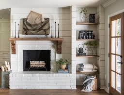 HGTVs Fixer Upper Farmhouse Fireplace With Shiplap Reclaimed Wood Mantel Painted Brick And Open Rustic Shelves