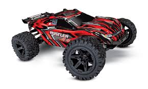 Traxxas Rustler 4X4 1/10 Scale 4WD Brushed Stadium Truck RTR (red ...