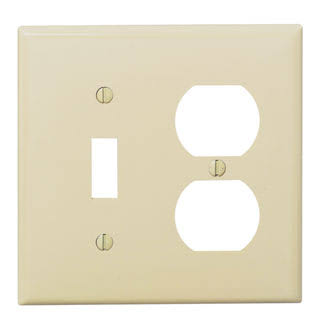 Leviton Midway 1-Duplex Combination Nylon Wall Plate - 2 Gang, 1 Toggle