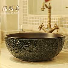 viele farben jingdezhen geschnitzt blatt keramik waschbecken für bad