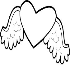 Heart With Wings Coloring Page Printable Book Sheet