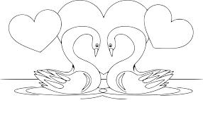 Coloriage Cygne Amoureux à Imprimer