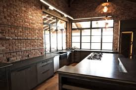 Rustic Kitchen Lighting Ideas by Kitchen Style Brick Wall And Concrete Countertop Cool Modern