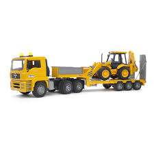 Bruder Toys MAN TGA Low Loader Truck With JCB Backhoe Loader On ...