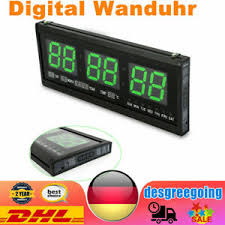 details zu digital wanduhr seniorenuhr wohnzimmer led display temperatur büro neu dhl