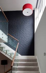 Cornwall Drum Pendant Lighting Staircase Contemporary With Black Textured Accent Wall Oval Stair Tread Rugs Glass Railing