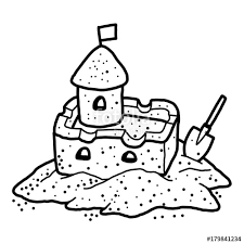Sand Castle Cartoon Vector And Illustration Black White Hand Drawn Sketch