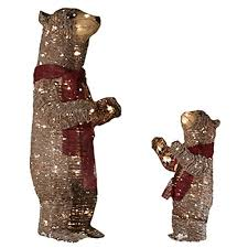 Lighted Bear Outdoor Christmas Decorations With White Incandescent Lights O Let These Two Rustic Bears Welcome Visitors
