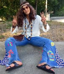 1969 Woodstock Hippie Mens Groovy Outfits Hippies Clothing Hippy Jeans Wigs