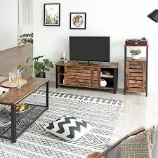 vasagle fernsehtisch für fernseher bis zu 48 zoll tv schrank im industrie design lowboard mit schiebetüren und 2 regalebenen wohnzimmer flur 110