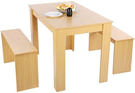 esstisch mit 2 bank tischgruppe essgruppe esstischset esstischgruppe aus mdf küchentisch rechteckig tisch für esszimmer küche wohnzimmer holz farbe