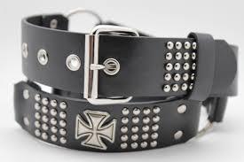 black faux leather biker style belt silver buckle iron cross new