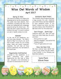 Monthly Newsletter Wise Owl Preschool