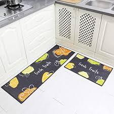 carvapet 2stk küchenläufer waschbar rutschfest küchenmatte küchenteppich waschbar teppich läufer küche fußmatte badematten set früchte grau