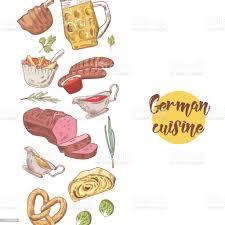 traditionelle deutsche küche gezeichneten hintergrund deutschlandcuisinemenüvorlage essen und trinken vektorillustration stock vektor und