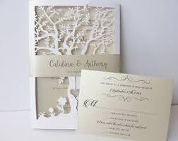 Fall Wedding Invitation Laser Cut Tree Invite Rustic