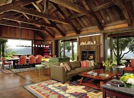 KitchenOpen Plan Living Room With Rustic Wood Ceiling And Country Furnishings Kitchen Decor