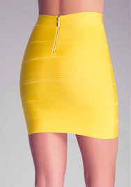 bebe solid bandage skirt in yellow lyst