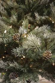 Close Up Of Artificial Pine Tree With Cones And String White Christmas