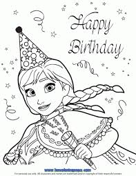 Anna Birthday Party Coloring Page